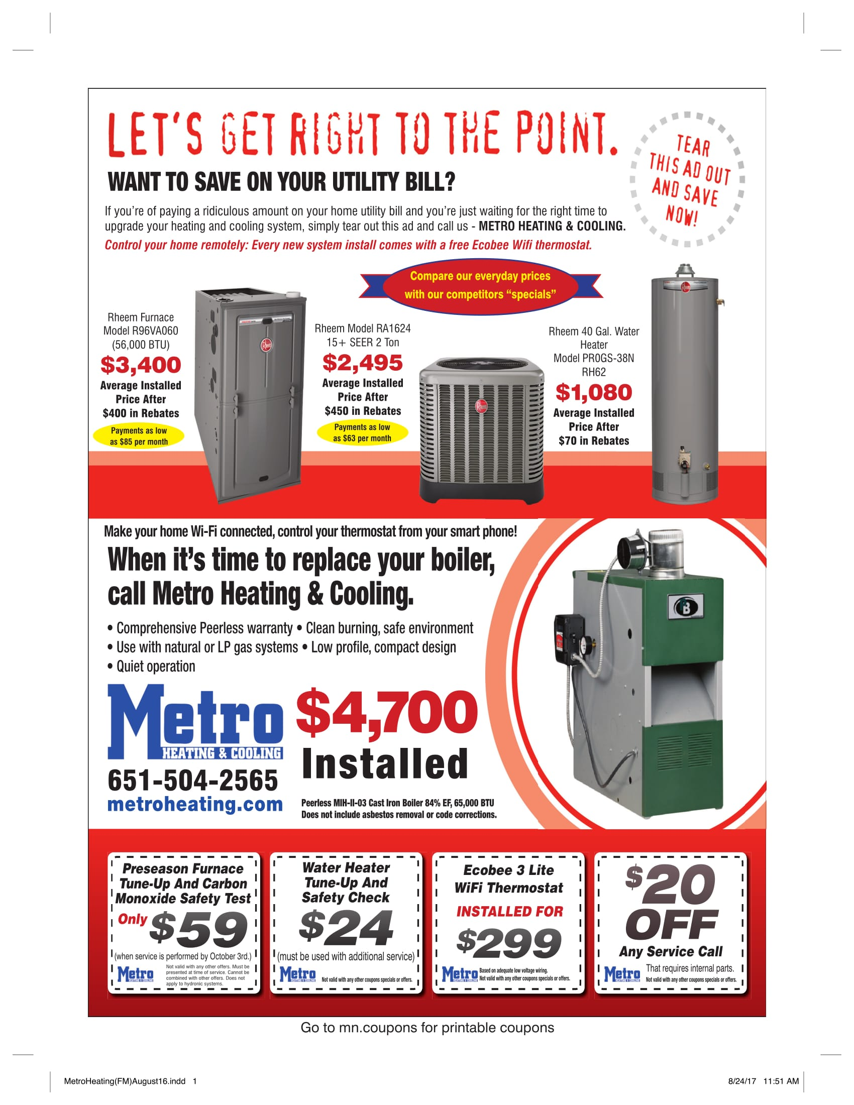 Heating Furnace And Boiler Coupons Metro Heating