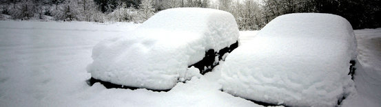 snow on cars